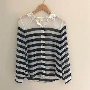 LC Lauren Conrad striped sheer blouse lace collar